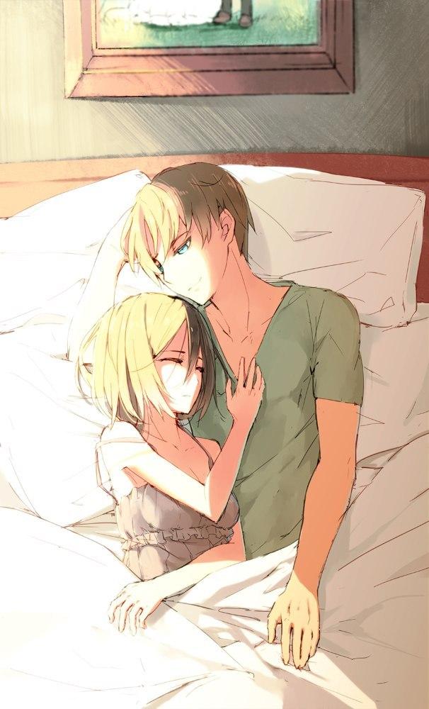 Парень и девушка аниме спят   арты (12)