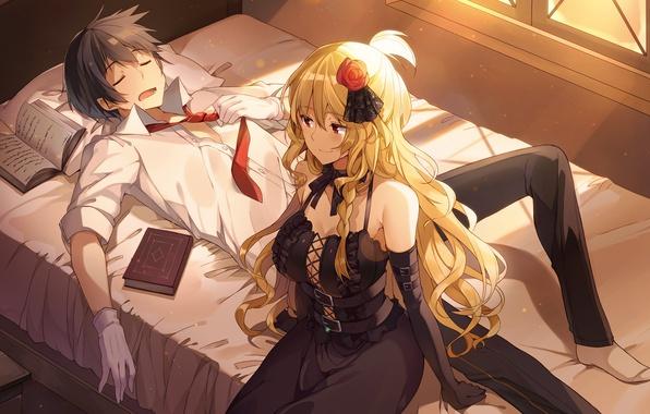 Парень и девушка аниме спят   арты (13)