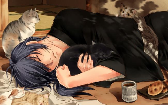 Парень и девушка аниме спят   арты (14)