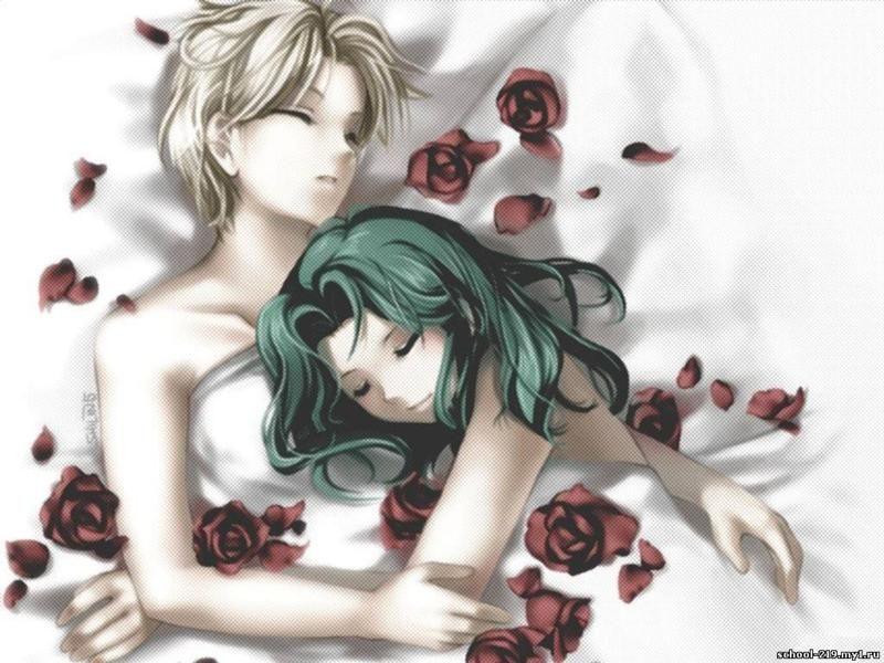 Парень и девушка аниме спят   арты (15)
