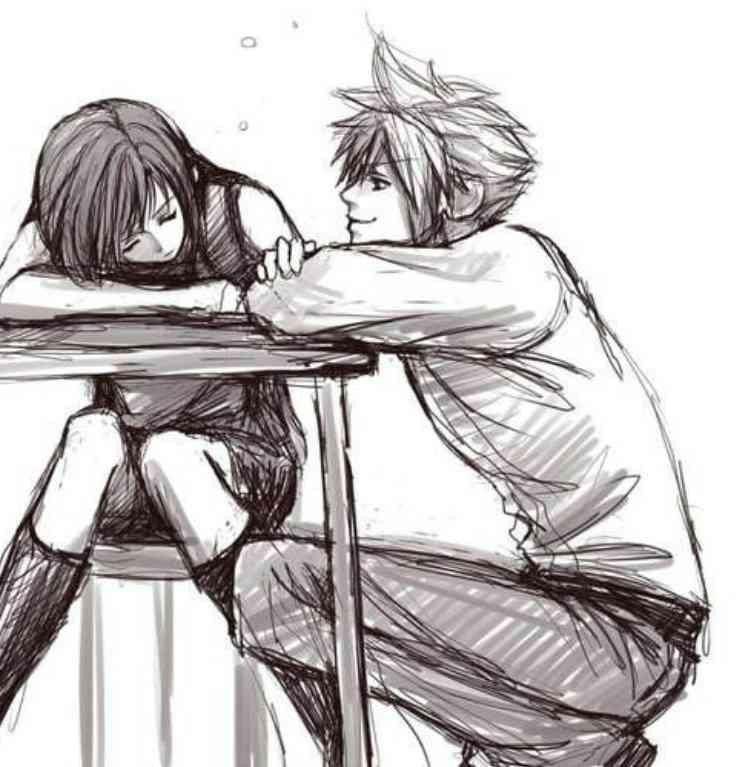 Парень и девушка аниме спят   арты (16)