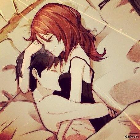 Парень и девушка аниме спят   арты (4)