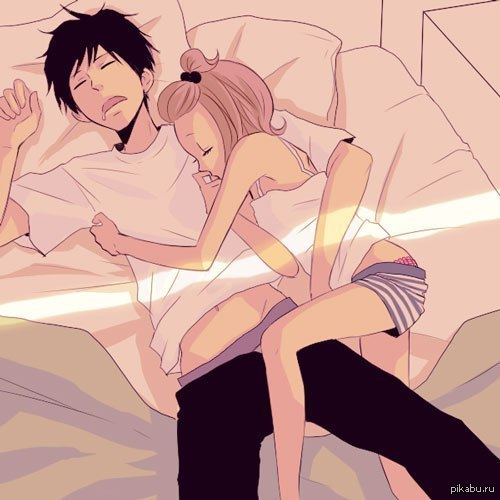 Парень и девушка аниме спят   арты (5)