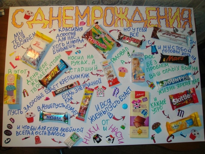 Прикольные открытки из конфет
