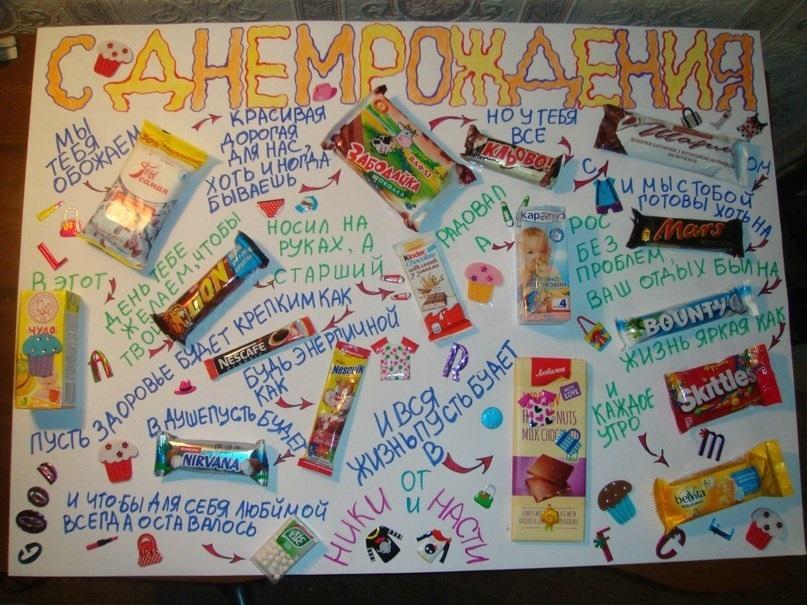 Открытки с поздравлениями из шоколадок