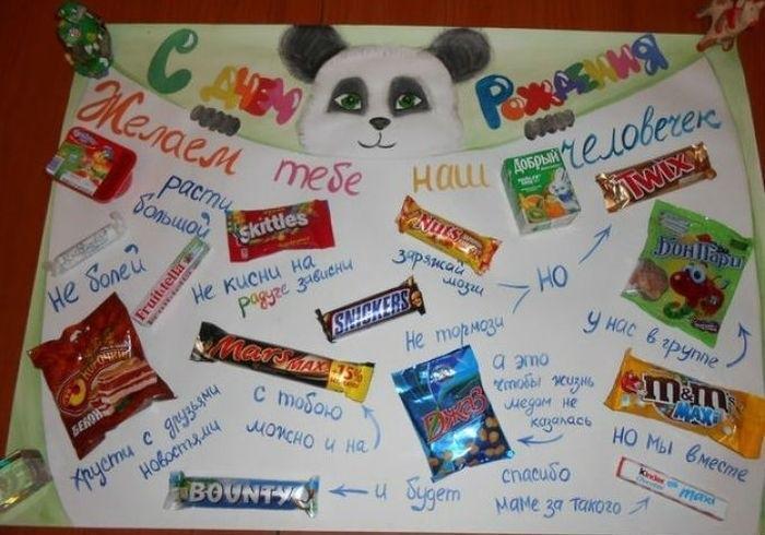 Коллаж поздравление с днем рождения с конфетами