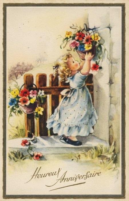 Картинки, поздравление с днем рождения дореволюционные открытки