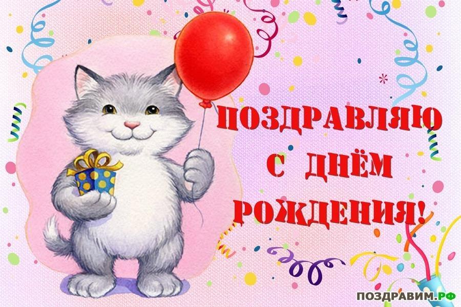 Рыжий кот открытка с днем рождения003