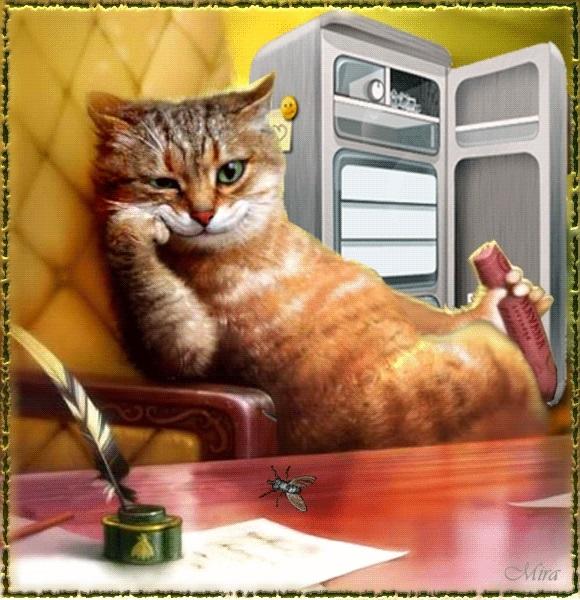 Рыжий кот открытка с днем рождения004