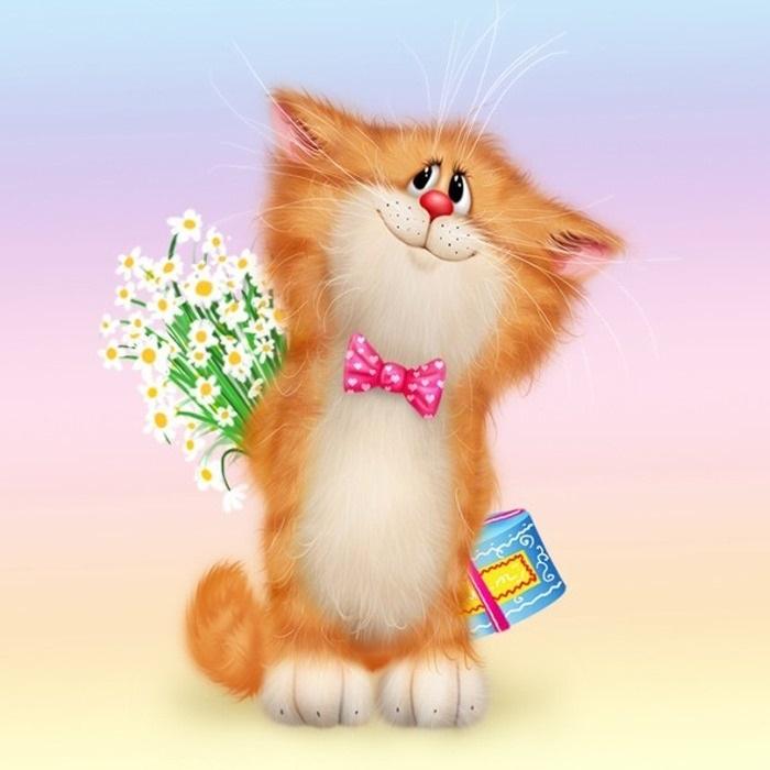 Рыжий кот открытка с днем рождения012