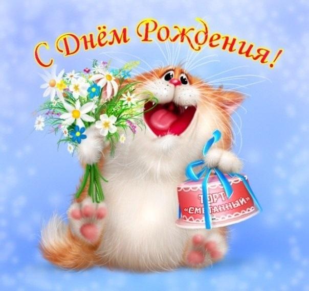 Рыжий кот открытка с днем рождения014
