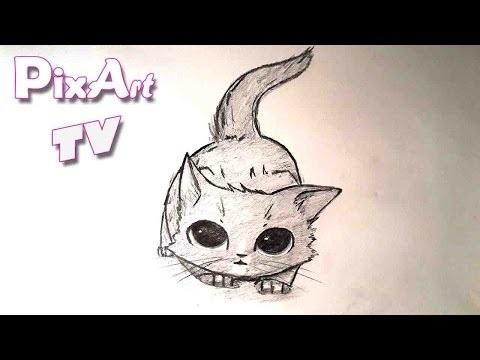 Аниме рисунки кошки для детей 007