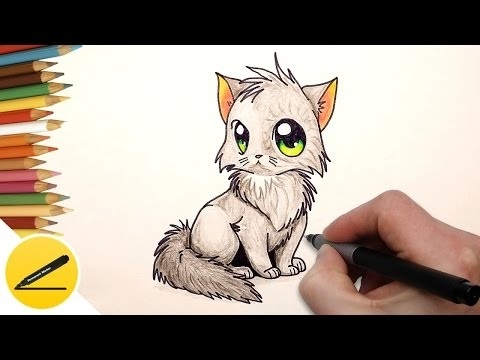 Аниме рисунки кошки для детей 010