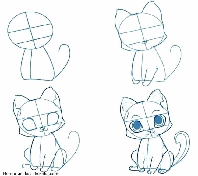 Аниме рисунки кошки для детей 017
