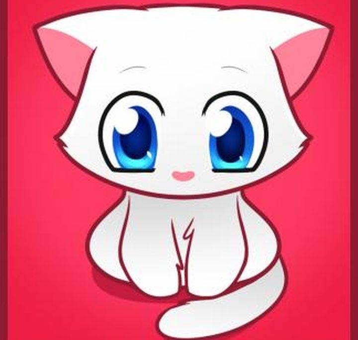 Аниме рисунки кошки для детей 019