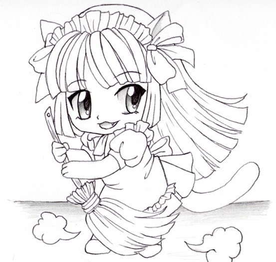 Аниме рисунки кошки для детей 021