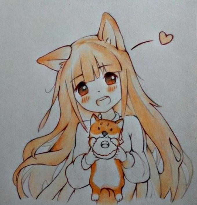 Аниме рисунки кошки для детей 026