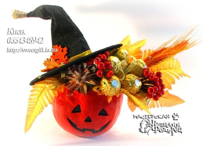 Букеты из конфет на хэллоуин 006