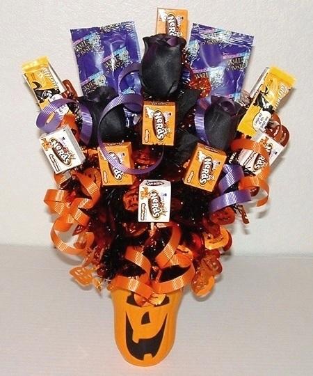 Букеты из конфет на хэллоуин 009