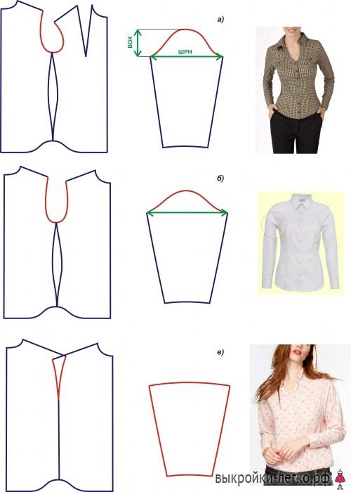 Выкройка женской рубашки с длинным рукавом 019