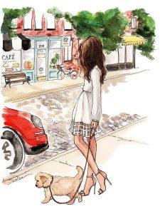 Девочка с собакой рисунок для срисовки 024