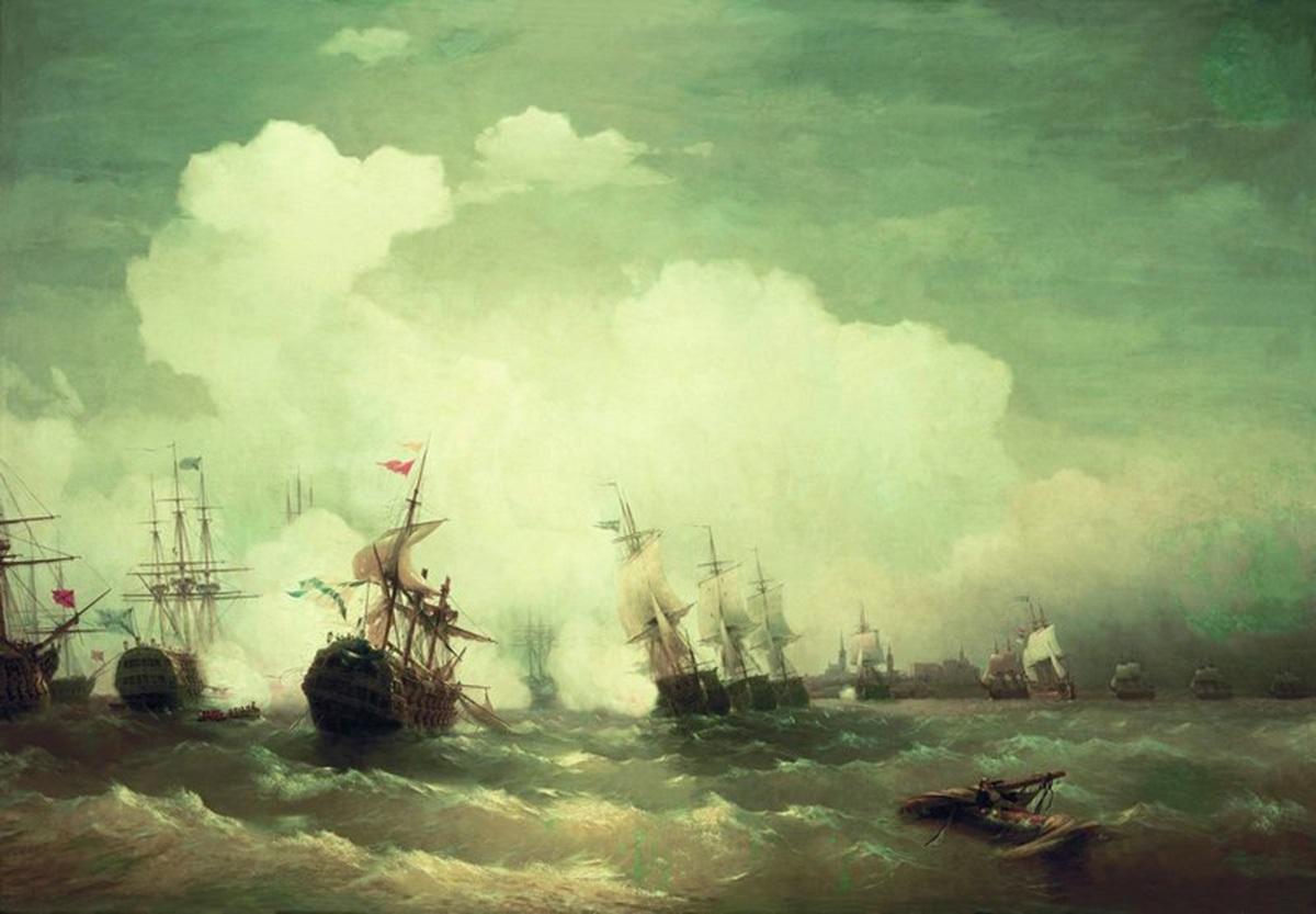 День победы русского флота под командованием Петра Первого над шведами у мыса Гангут 001
