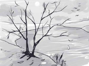 Как нарисовать пейзаж осень карандашом поэтапно для начинающих 010