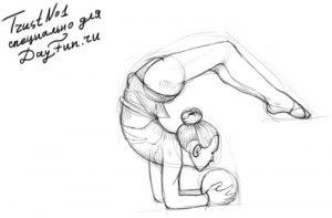 Как рисовать гимнастку на бумаге 011