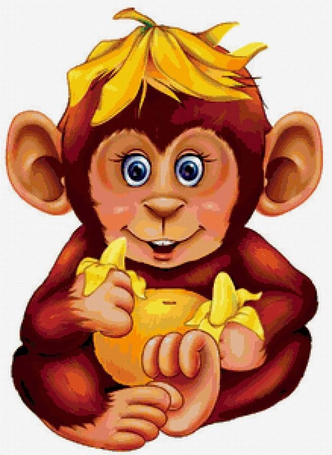 Открытка, картинки обезьянка с бананом
