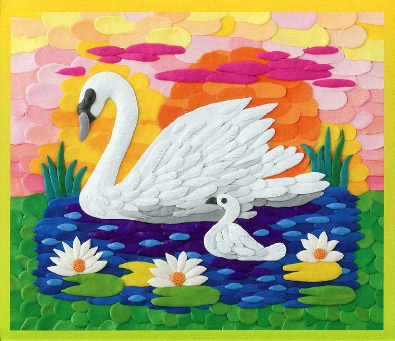 Картинка с лебедем своими руками, открытки дню рожден
