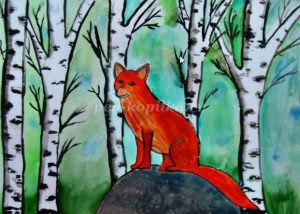 Картинки карандашом лиса в лесу 018
