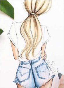 Картинки нарисованных девушек со спины на аву 009