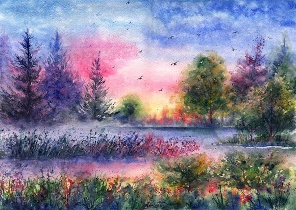 Картинки пейзаж для срисовки 011