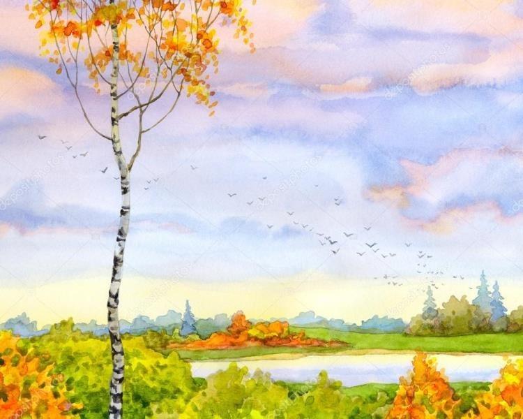 Картинки пейзаж для срисовки 015
