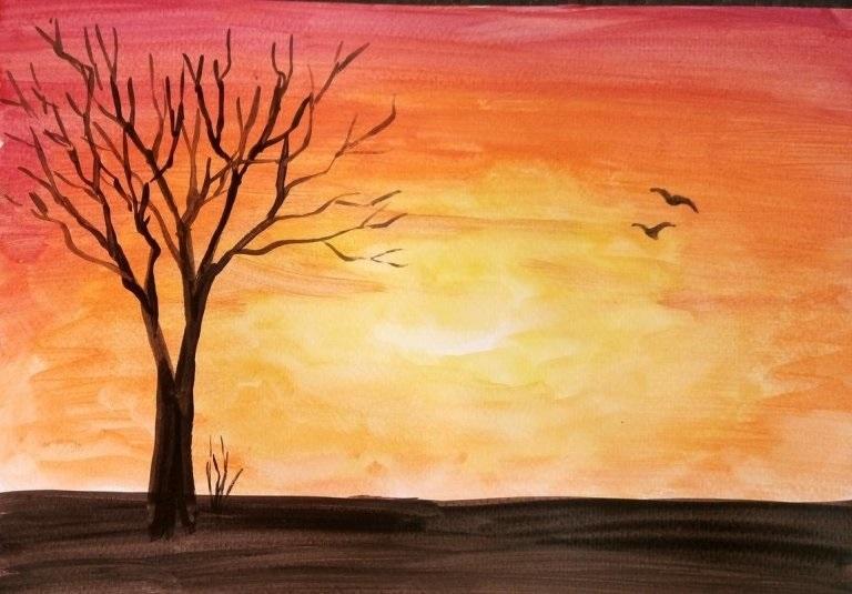 Картинки пейзаж для срисовки 016