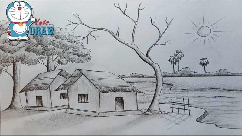 Картинки пейзаж для срисовки 019