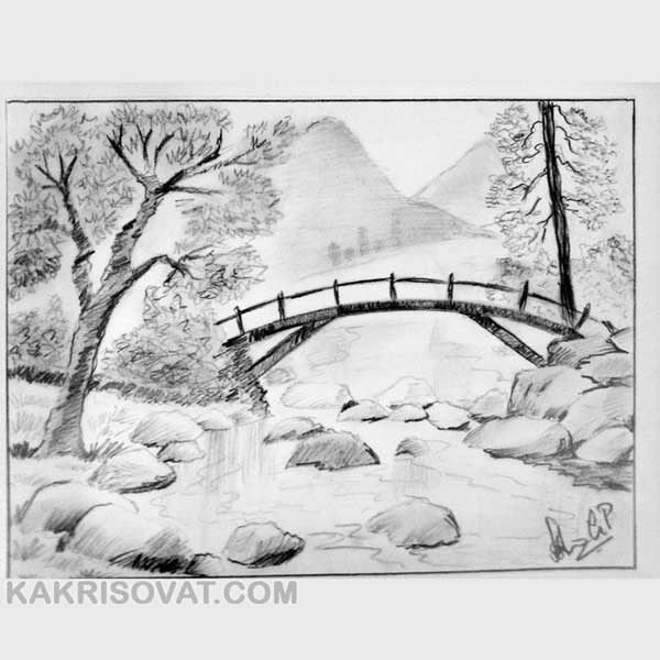 Картинки пейзаж для срисовки 021