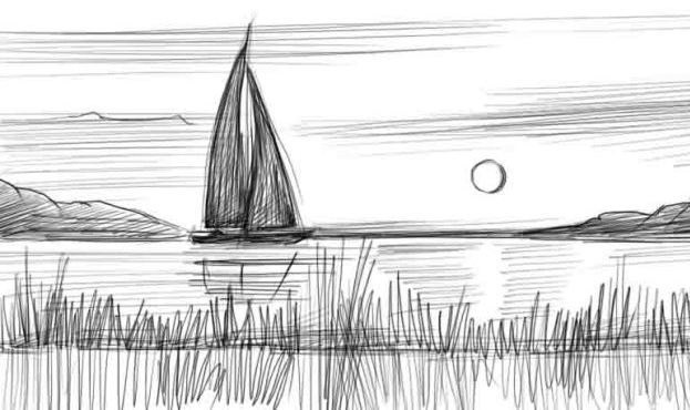 Картинки пейзаж для срисовки 023