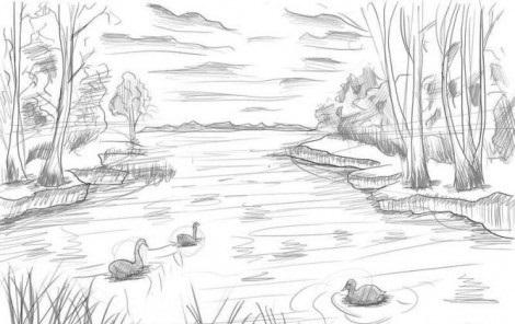 Картинки пейзаж для срисовки 024