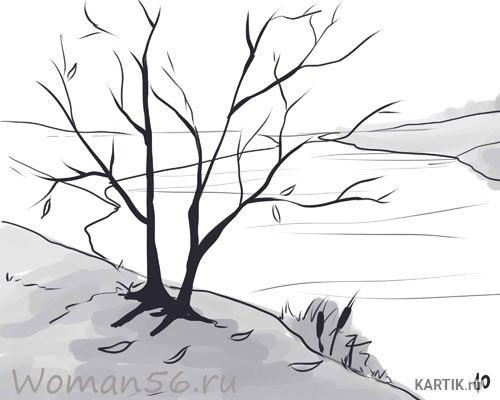 Картинки пейзаж для срисовки 025