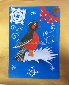 Картинки снегирей на ветке для детей 013