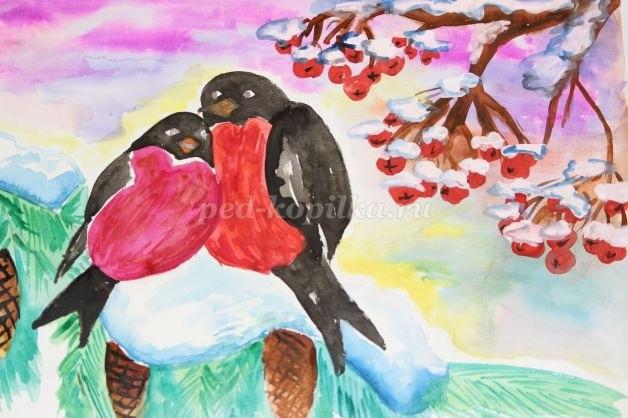 Картинки снегирей на ветке для детей 014