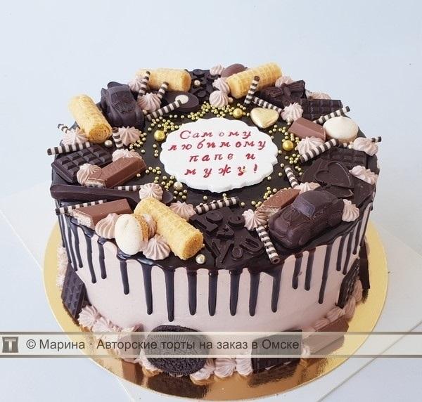 Красивый кремовый торт для папы 005