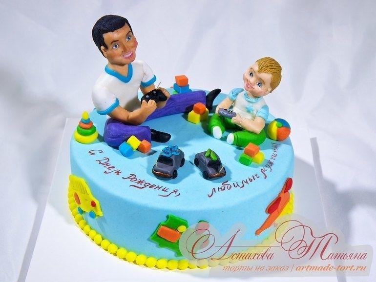 Красивый кремовый торт для папы 006