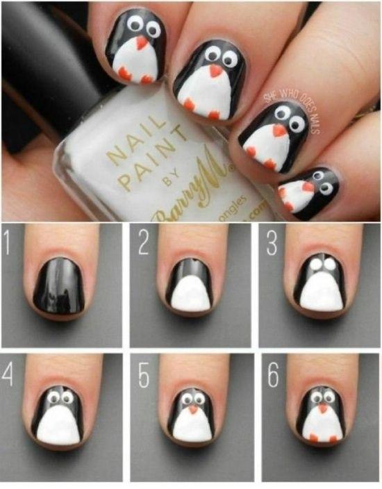 Красивый маникюр с пингвином 013