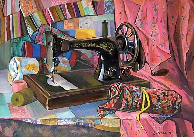 Красивый рисунок швейной машинки 023