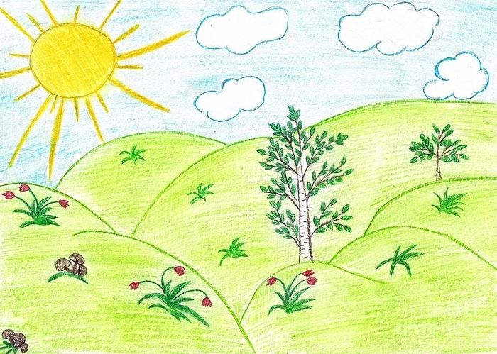 Легкие рисунки на природе 001