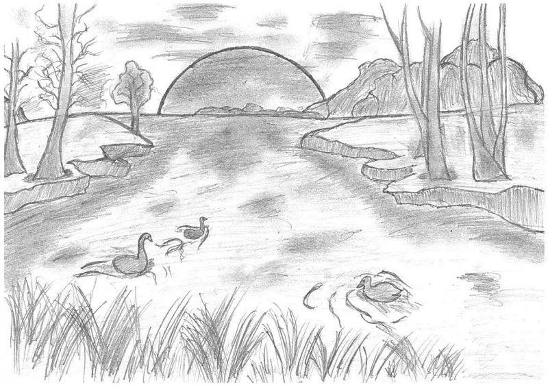 Легкие рисунки на природе 003