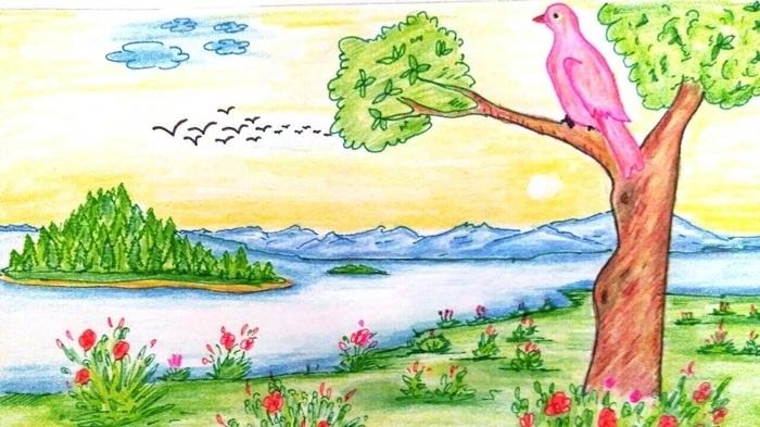 Легкие рисунки на природе 006