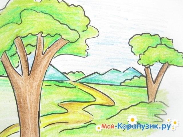 Легкие рисунки на природе 009